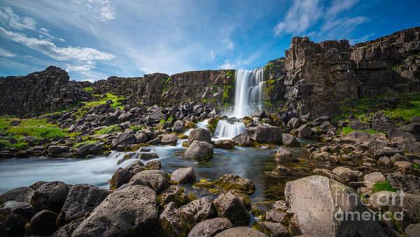 Oxararfoss Waterfall  Poster