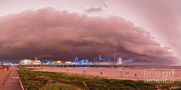 Panorama Of Historic Galveston Pleasure Pier With Approaching Storm Above Galveston Seawall Texas Poster