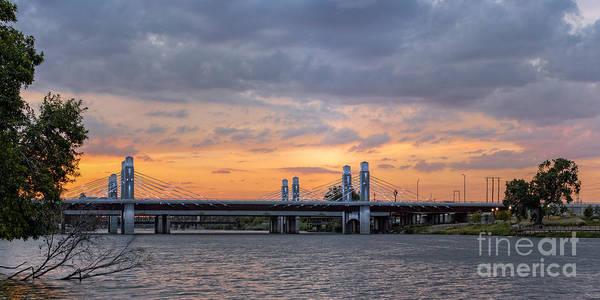 Panorama Of I-35 Jack Kultgen Highway Bridges At Sunset From The Brazos Riverwalk - Waco Texas Poster
