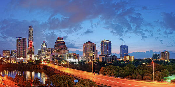 Panoramic Twilight View Of Downtown Austin Skyline And Congress Avenue Bridge - Travis County Texas  Poster
