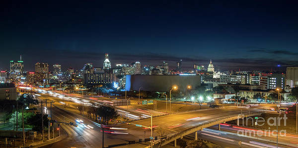 Panoramic View Of Busy Austin Texas Downtown Poster