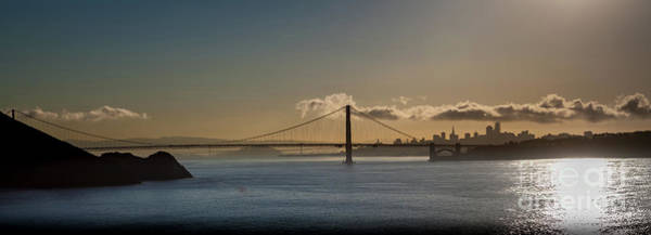 Panoramic View Of Downtown San Francisco Behind The Golden Gate  Poster