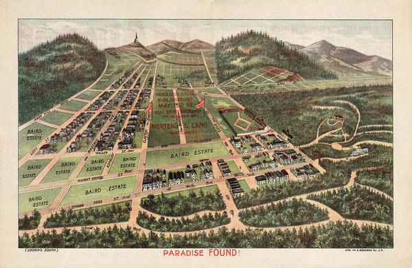 Paradise Found - Historical Birds Eye View Map Of Baird Estate - Historical Map Poster