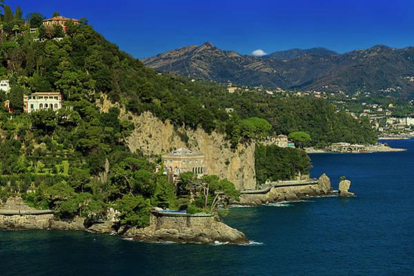 Paraggi Bay Castle And Liguria Mountains Portofino Park  Poster
