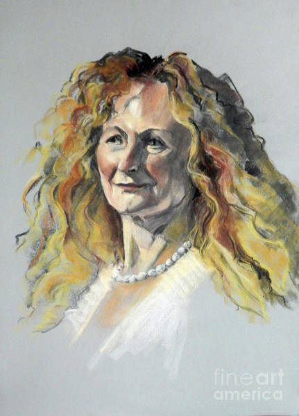 Pastel Portrait Of Woman With Frizzy Hair Poster