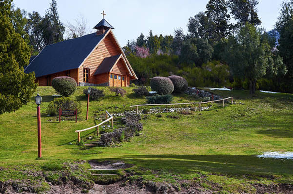 Rustic Church Surrounded By Trees In The Argentine Patagonia Poster