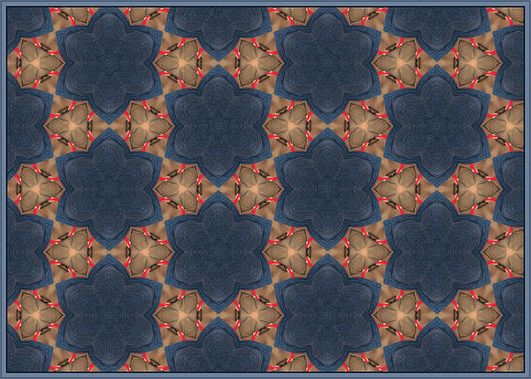 Pattern Of Blue Stone Flowers Poster