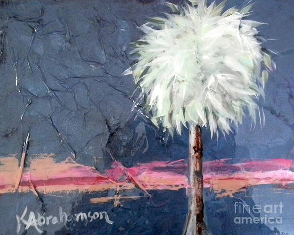 Peachy Horizons Palm Tree Poster