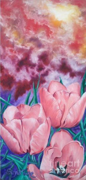 Peachypink Tulips Poster