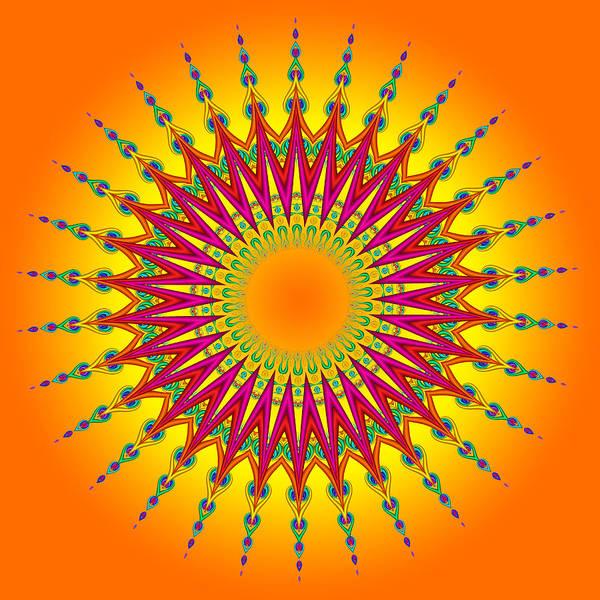 Peacock Sun Mandala Fractal Poster