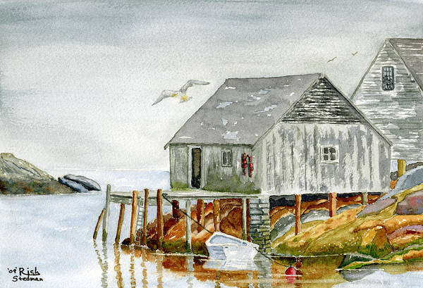Poster featuring the painting Peggys Cove by Rich Stedman