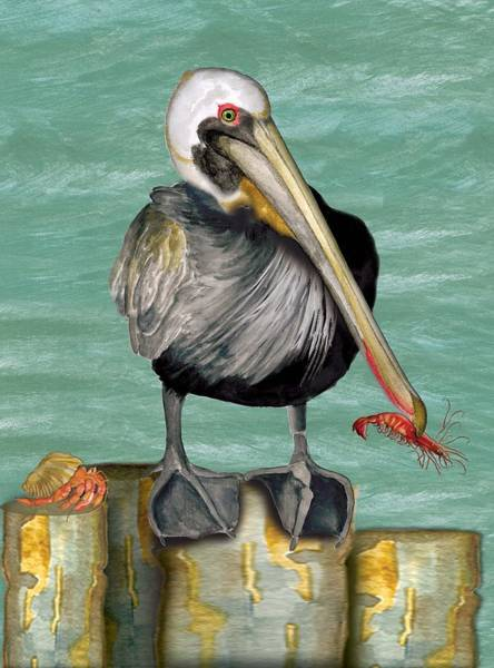 Pelican With Shrimp Poster