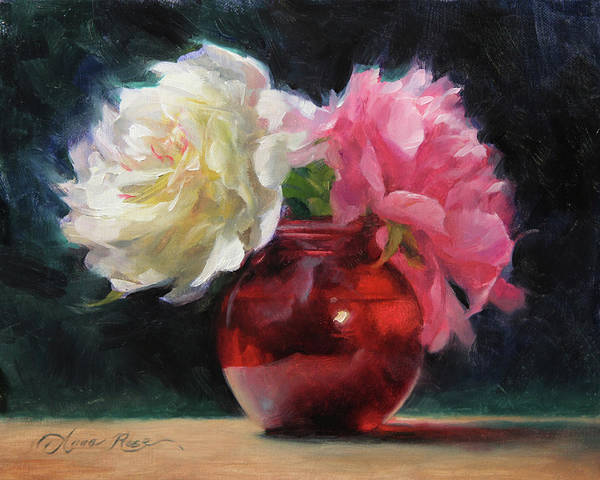 Peonies With Red Vase Poster