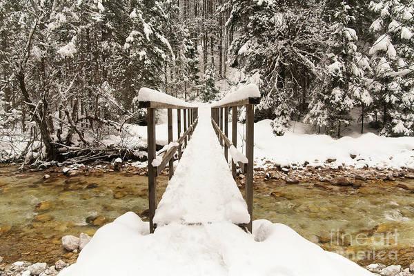 Pericnik Falls Snowy Bridge Poster