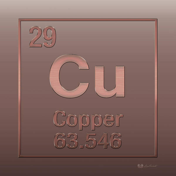 Periodic Table Of Elements - Copper - Cu - Copper On Copper Poster