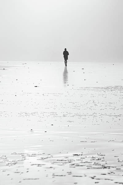 Person Running On Beach Poster