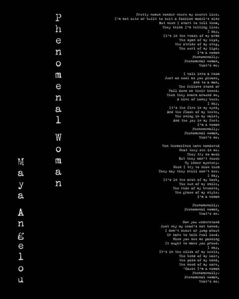 Phenomenal Woman By Maya Angelou - Feminist Poetry Poster