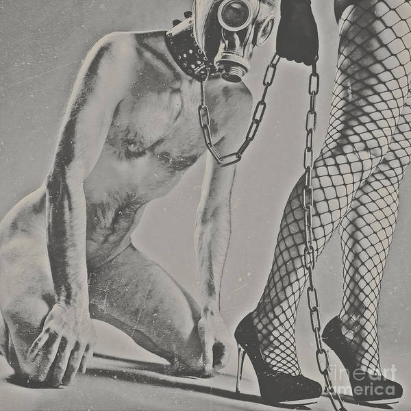 Photograph Bdsm Style In Black And White #0547d Poster