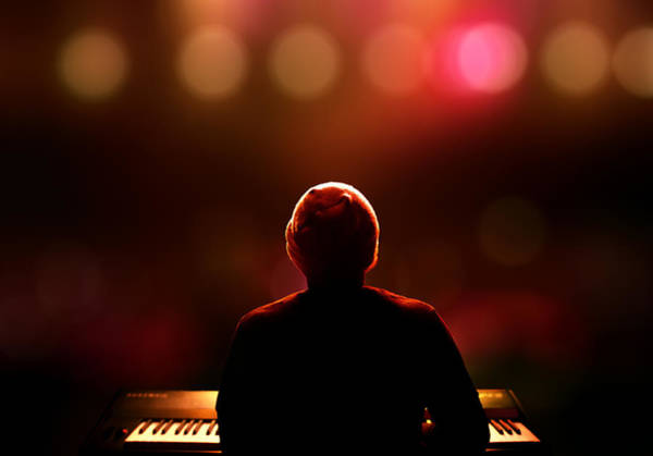 Pianist On Stage From Behind Poster