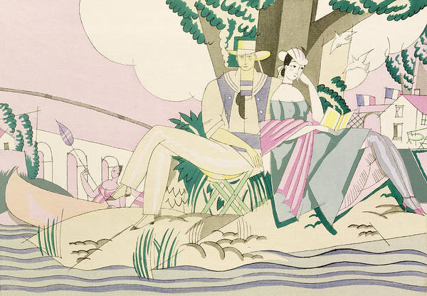 Picnic And Fishing Scene Poster