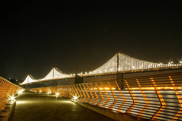 Pier 14 And Bay Bridge Lights Poster