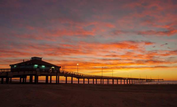 Pier At Sunrise Port Aransas Tx Poster