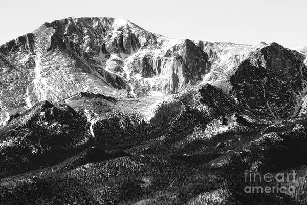 Pikes Peak Black And White In Wintertime Poster