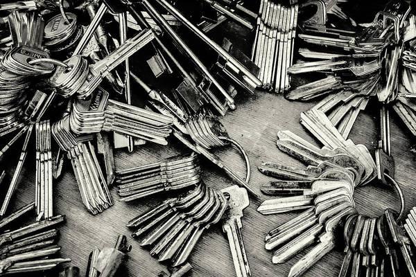 Piles Of Blank Keys In Monochrome Poster
