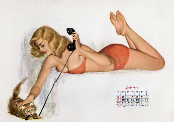 Pin Up With A Cat Playing With Phone Wire Poster