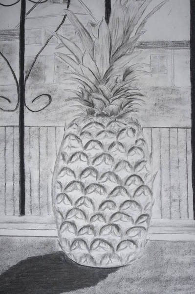 Pineapple In Window Poster