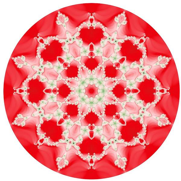 Pink And Green Watercolor Snowflake Fractal Poster