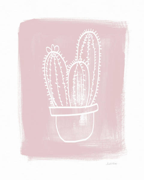 Pink And White Cactus- Art By Linda Woods Poster