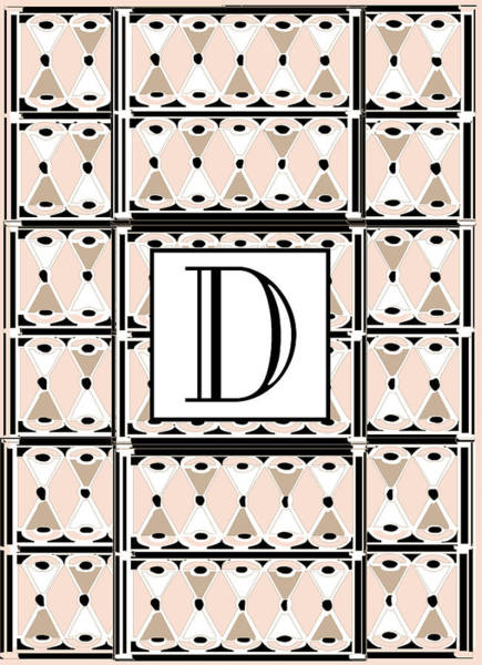 Pink Champagne Deco Monogram  D Poster