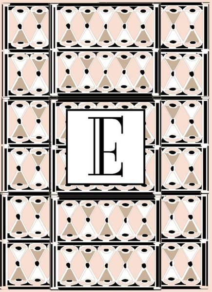 Pink Champagne Deco Monogram  E Poster