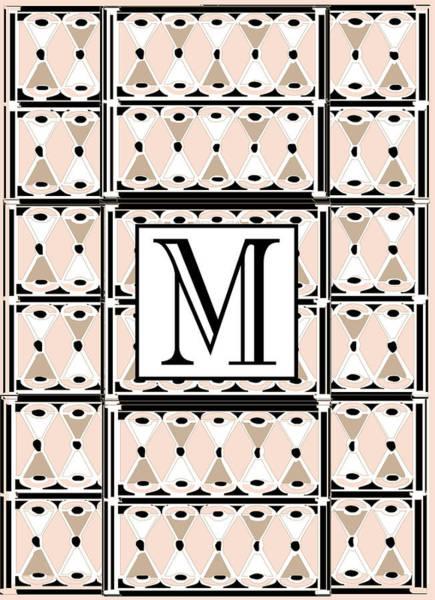 Pink Champagne Deco Monogram  M Poster