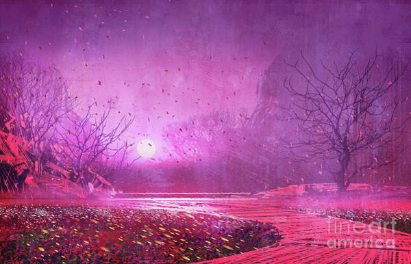 Poster featuring the painting Pink Landscape by Tithi Luadthong