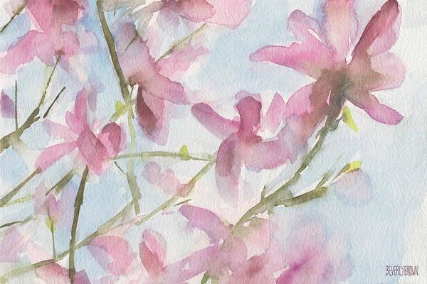 Pink Magnolias Blue Sky Poster