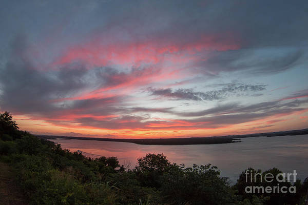 Pink Skies And Clouds At Sunset Over Lake Travis In Austin Texas Poster