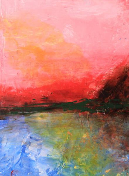 Pink Sky Over Water Abstract Poster