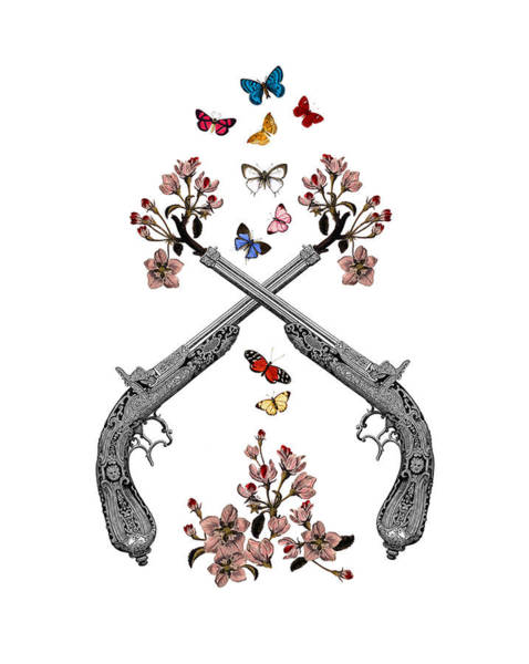 Pistols Wit Flowers And Butterflies Poster