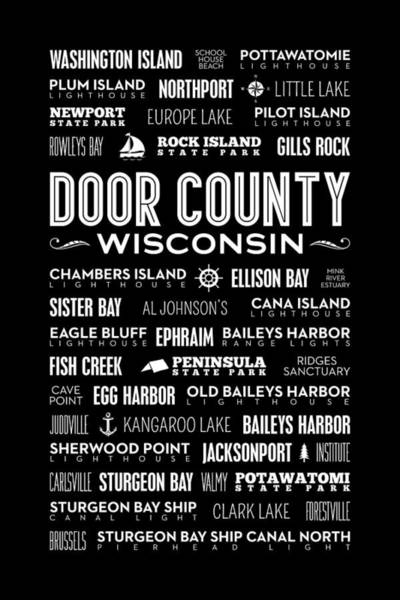 Places Of Door County On Black Poster