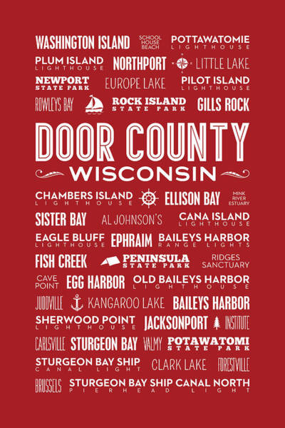 Places Of Door County On Red Poster