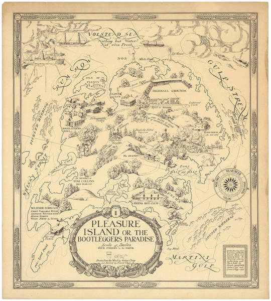Pleasure Island Or The Bootleggers Paradise - Map Of Alcoholic Drinks - Brewers Map, 1925 Poster