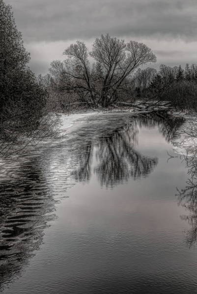 Plover River Black And White Winter Reflections Poster
