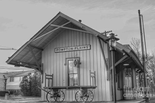 Pompton Plains Railroad Station And Baggage Cart Poster