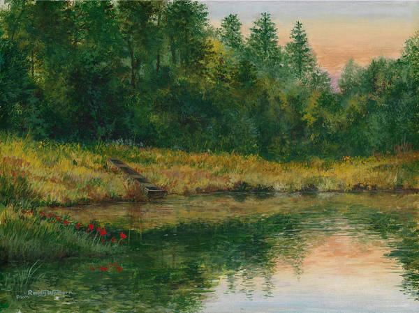 Pond With Spider Lilies Poster