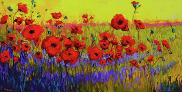 Poppy Flower Field Oil Painting With Palette Knife Poster
