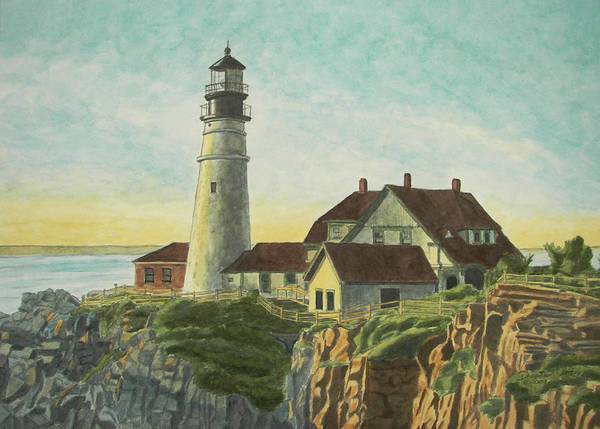 Poster featuring the painting Portland Head Light At Sunrise by Dominic White