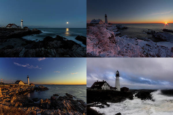 Portland Head Light Day Or Night Poster