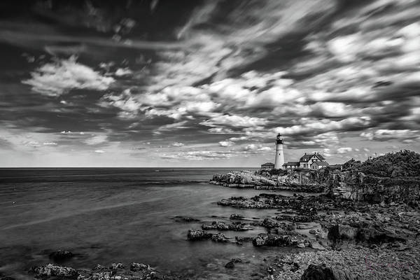 Portland Head Light In Black And White Poster